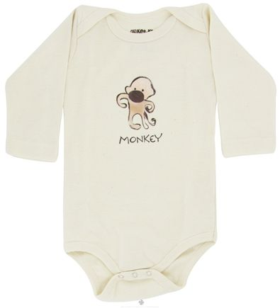 DROPPED: Kee-Ka - 100% Organic Cotton Long Sleeve BodySuit With Wearable Greetings Gift Box Monkey 3-6 Months - CLEARANCE PRICED