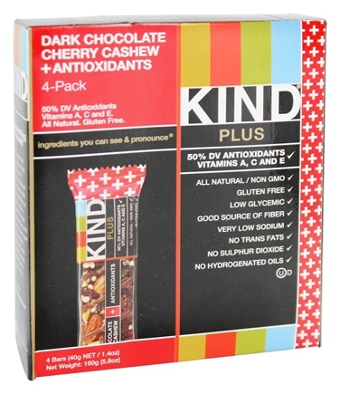 DROPPED: Kind Bar - Fruit and Nut Bars + Antioxidants Dark Chocolate Cherry Cashew - 4 Bars