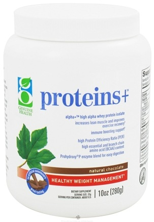 DROPPED: Genuine Health - Proteins+ Whey Protein Isolate Natural Chocolate Flavor - 10 oz. CLEARANCE PRICED