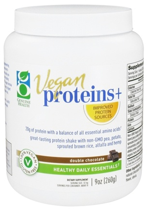 DROPPED: Genuine Health - Vegan Proteins+ Double Chocolate Flavor - 9 oz.