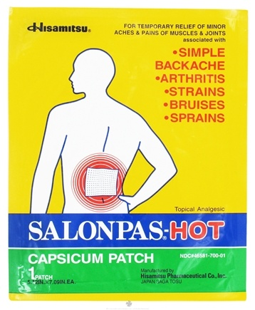 DROPPED: Salonpas - Hot Capsicum Patch Topical Analgesic - 5.12 in x 7.09 in