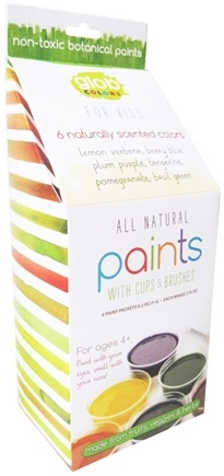 Zoom View - Paint Kit with 6 Paint Packets, Compostable Cups and 2 Bamboo Brushes