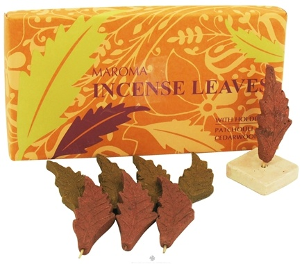 DROPPED: Maroma - Incense Leaves with Holder Patchouli Cedarwood - 4 Leaves CLEARANCE PRICED