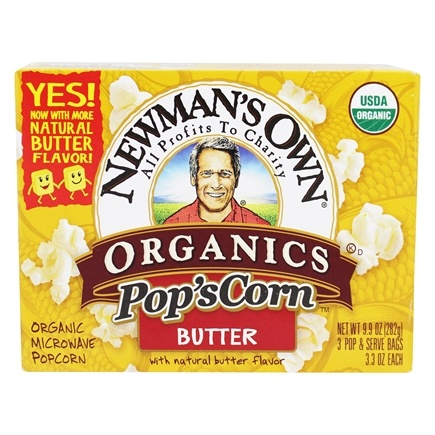 Newman's Own Organics - Pop's Corn Organic Microwave Popcorn Butter - 3 Pop & Serve Bags (3.3 oz)