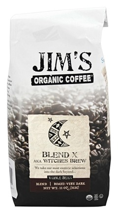 DROPPED: Jim's Organic Coffee - Whole Bean Coffee Blend X aka Witches Brew - 11 oz.