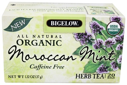 DROPPED: Bigelow Tea - All Natural Organic Herb Tea Caffeine Free Moroccan Mint - 20 Tea Bags