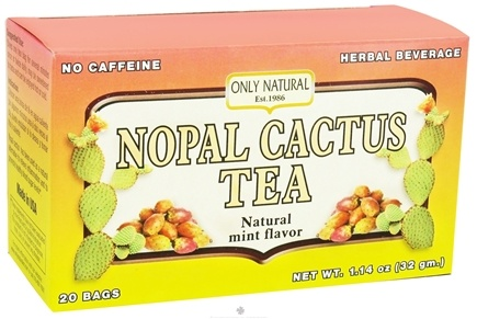 DROPPED: Only Natural - Nopal Cactus Tea Caffeine Free Natural Mint Flavor - 20 Tea Bags