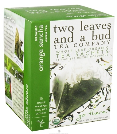 DROPPED: Two Leaves Tea Company - Green Tea Organic Orange Sencha - 15 Tea Bags formerly Two Leaves and a Bud