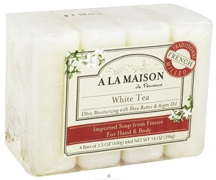 DROPPED: A La Maison - Traditional French Milled Bar Soap Value Pack White Tea - 4 x 3.5 oz. Bars