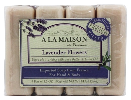 A La Maison - Traditional French Milled Bar Soap Value Pack Lavender Flowers - 4 x 3.5 oz. Bars