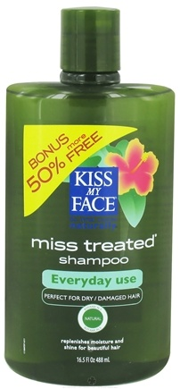 DROPPED: Kiss My Face - Shampoo Miss Treated Everyday Use Palmarosa Mint - 16.5 oz. Bonus 50% More Free