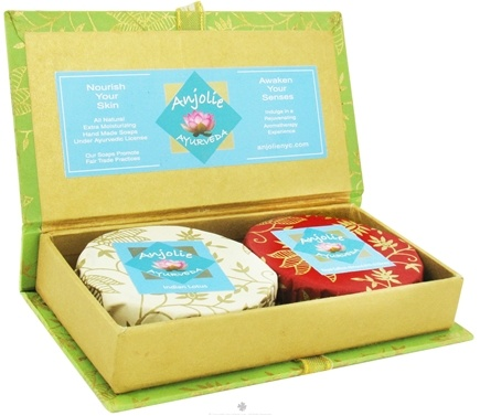 Zoom View - Royal Saffron Almond Milk & Honey and Indian Lotus Soap Floral Gift Box