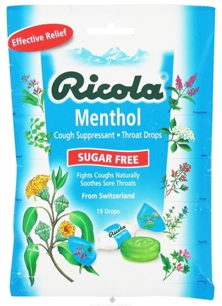 DROPPED: Ricola - Natural Herb Throat Drops Sugar Free Menthol - 19 Lozenges CLEARANCED PRICED