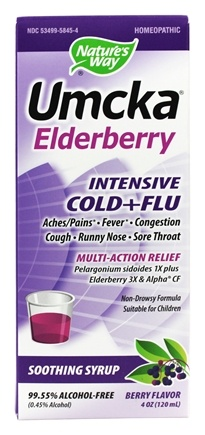 Nature's Way - Umcka Elderberry Intensive Cold and Flu Soothing Syrup - 4 oz.