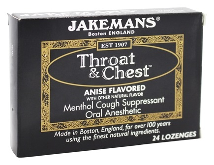 Jakemans - Throat & Chest Menthol Cough Suppressant Oral Anesthetic Lozenges Anise - 24 Lozenges