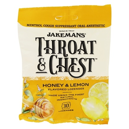 DROPPED: Jakemans - Throat & Chest Menthol Cough Suppressant Lozenges Honey and Lemon - 30 Lozenges