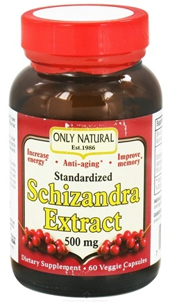 DROPPED: Only Natural - Schizandra Extract 500 mg. - 60 Vegetarian Capsules