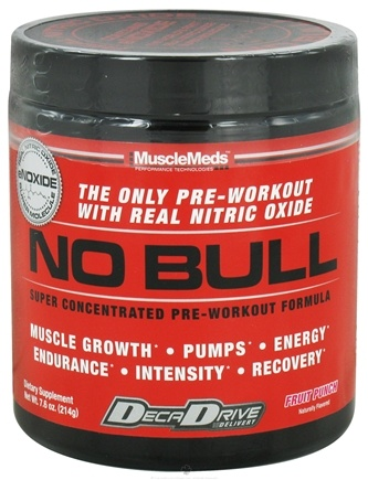 DROPPED: MuscleMeds - NO Bull Super Concentrated Pre-Workout Formula Fruit Punch - 214 Grams CLEARANCE PRICED