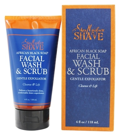 Shea Moisture - Shave African Black Soap Facial Wash & Scrub Gentle Exfoliator for Men - 4 oz.