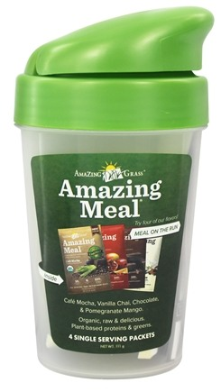 DROPPED: Amazing Grass - Amazing Meal Powder with Shaker Cup Variety Flavor - 4 x 24g Packets