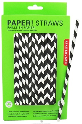 DROPPED: Kikkerland - Paper Straws Gray - 144 Count CLEARANCE PRICED