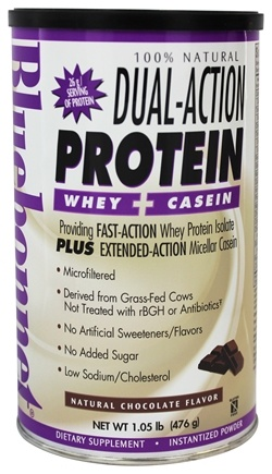 Bluebonnet Nutrition - Dual-Action Protein Whey + Casein Natural Chocolate Flavor - 1.05 lbs.