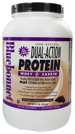 Bluebonnet Nutrition - Dual-Action Protein Whey + Casein Natural Chocolate Flavor - 2.1 lbs.