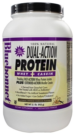 Bluebonnet Nutrition - Dual-Action Protein Whey + Casein Natural French Vanilla Flavor - 2.1 lbs.