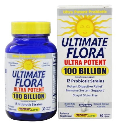 Renew Life - Ultimate Flora Ultra Potent 100 Billion Live Cultures 12 GPS Probiotic Strains - 30 Vegetarian Capsules