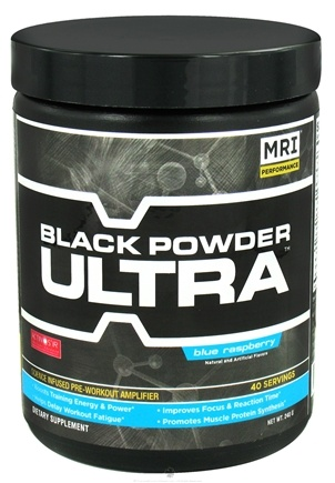 DROPPED: MRI: Medical Research Institute - Black Powder Ultra Pre-Workout Amplifier 40 Servings Blue Raspberry - 240 Grams CLEARANCE PRICED