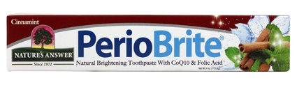 Nature's Answer - PerioBrite Natural Whitening Toothpaste with CoQ10 and Folic Acid Cinnamint Flavor - 4 oz. Formerly Periowash