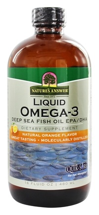 Nature's Answer - Liquid Omega-3 Deep Sea Fish Oil EPA/DHA Natural Orange Flavor - 16 oz.