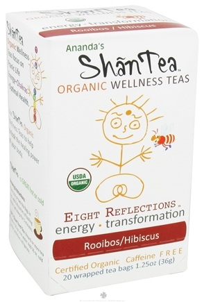 DROPPED: Ananda's Shantea - Organic Wellness Teas Eight Reflections Rooibos/Hibiscus Caffeine Free - 20 Tea Bags CLEARANCE PRICED