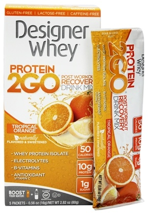 DROPPED: Designer Protein - Designer Whey Protein 2 Go Drink Mix Tropical Orange - 5  x .56 oz(16g) Packets