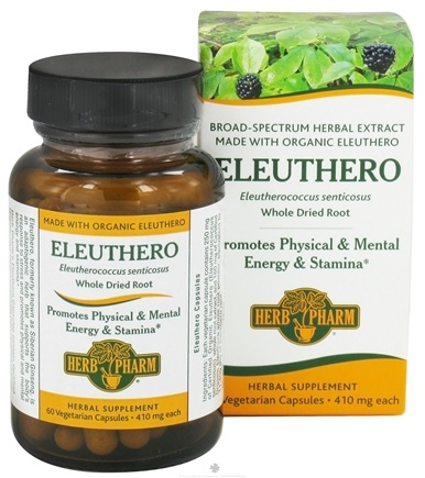 DROPPED: Herb Pharm - Eleuthero 410 mg. - 60 Vegetarian Capsules CLEARANCE PRICED
