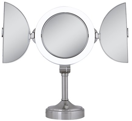 DROPPED: Zadro - Surround Lighted Tri-Fold Vanity Mirror SLVT410 Satin Nickel