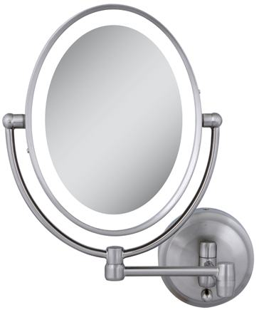 DROPPED: Zadro - LED Lighted Oval Wall Mirror LEDOVLW410 Satin Nickel
