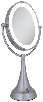 DROPPED: Zadro - LED Lighted Oval Vanity Mirror LEDOVLV410 Satin Nickel