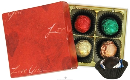 "Zoom View - Tea-Infused Organic Truffles in ""I Love You"" Box"