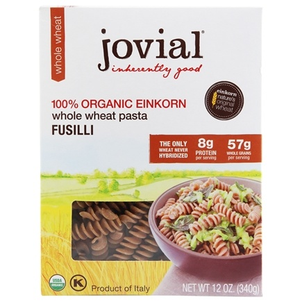 Jovial Foods - 100% Organic Einkorn Whole Wheat Fusilli Pasta - 12 oz.