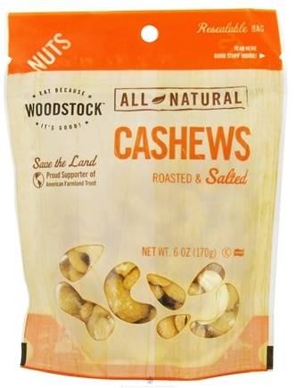 DROPPED: Woodstock Farms - All-Natural Cashews Roasted & Salted - 6 oz. CLEARANCE PRICED