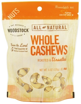DROPPED: Woodstock Farms - All-Natural Whole Cashews Roasted & Unsalted - 6 oz.