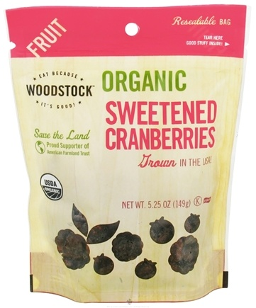 DROPPED: Woodstock Farms - Organic Sweetened Cranberries - 5.25 oz.