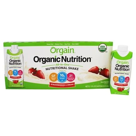 Orgain - Organic Ready To Drink Meal Replacement Strawberries and Cream - 12 Pack