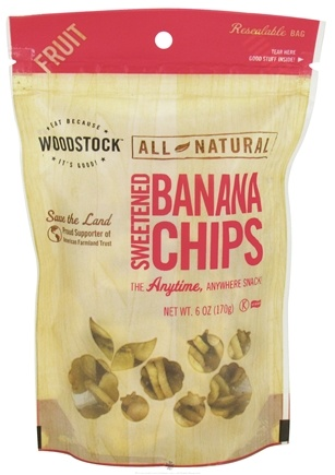 DROPPED: Woodstock Farms - All-Natural Sweetened Banana Chips - 6 oz. CLEARANCE PRICED