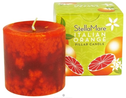 DROPPED: Stella Mare - Pillar Candle 3x3 Italian Orange - 12 oz. CLEARANCE PRICED