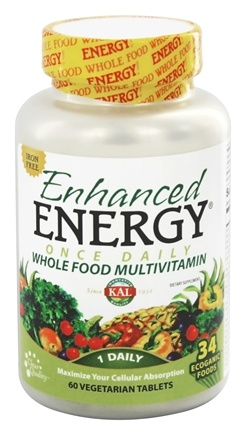 Kal - Enhanced Energy Once Daily Whole Food Multivitamin Iron Free - 60 Vegetarian Tablets