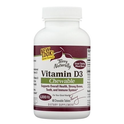 EuroPharma - Terry Naturally Vitamin D3 Chewable 5000 IU - 90 Chewable Tablets