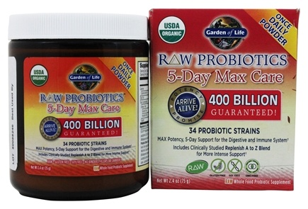 Garden of Life - Raw Probiotics 5-Day Max Care 34 Probiotic Strains 400 Billion CFU - 2.4 oz.