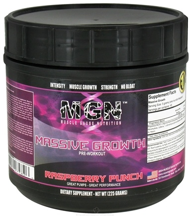 DROPPED: Muscle Gauge Nutrition - Massive Growth Pre-Workout Raspberry Punch - 225 Grams
